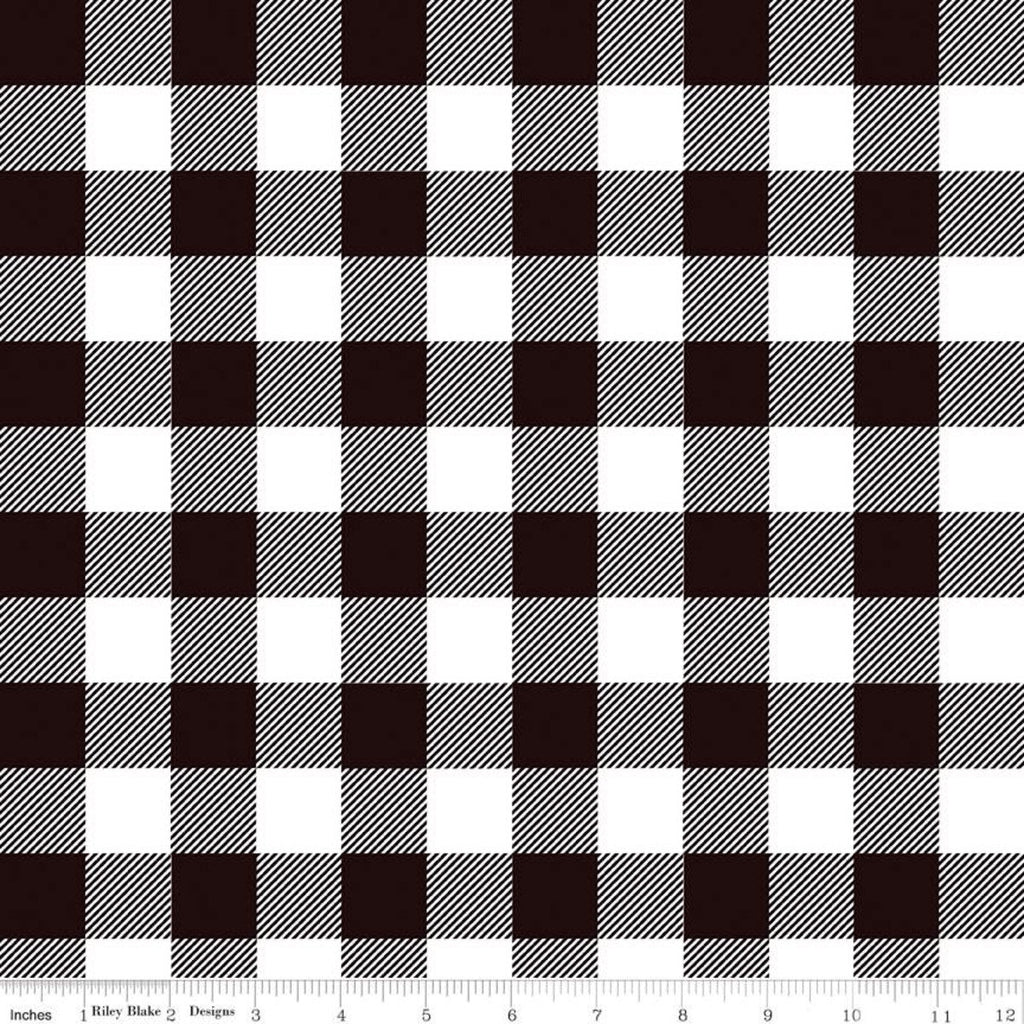 Modern Farmhouse Buffalo Check Black - Riley Blake Designs - Black White Large PRINTED Gingham Checkered Checks - Quilting Cotton Fabric