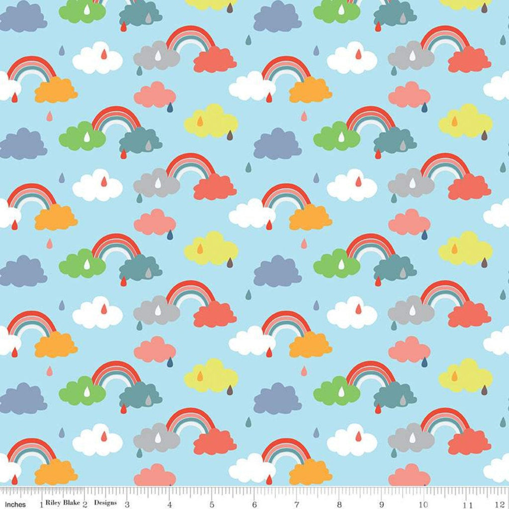 Noah's Ark Promise Blue - Riley Blake Designs - Juvenile Rainbows Clouds Raindrops - Quilting Cotton Fabric