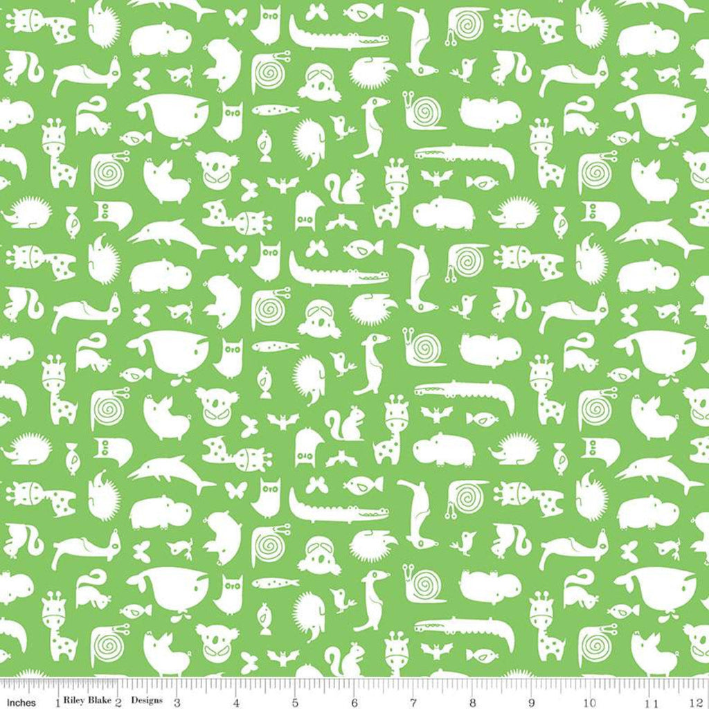Noah's Ark Animal Toss Green - Riley Blake Designs - Juvenile White Animals on Green - Quilting Cotton Fabric