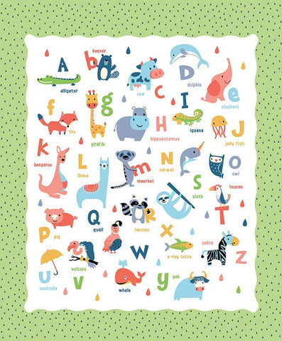 Noah's Ark Panel Green by Riley Blake Designs - Juvenile Alphabet ABCs Animals Animal Names Raindrops - Quilting Cotton Fabric