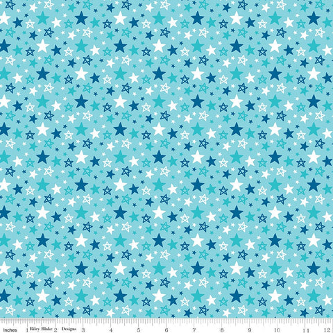 "Fireworks and Freedom Multi Stars Aqua - Riley Blake Designs - Patriotic Independence Day - Quilting Cotton - 1 yard 34"" end of bolt piece"