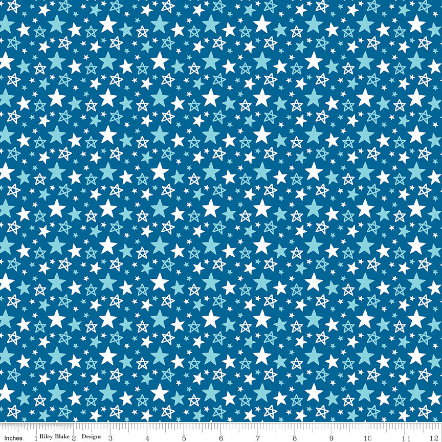 "Fireworks and Freedom Multi Stars Blue - Riley Blake Designs - Patriotic America Independence Day - Quilting Cotton - 1 yard 18"" end of bolt"