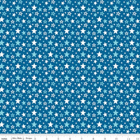 Fireworks and Freedom Multi Stars Blue - Riley Blake Designs - Patriotic America Independence Day - Quilting Cotton Fabric