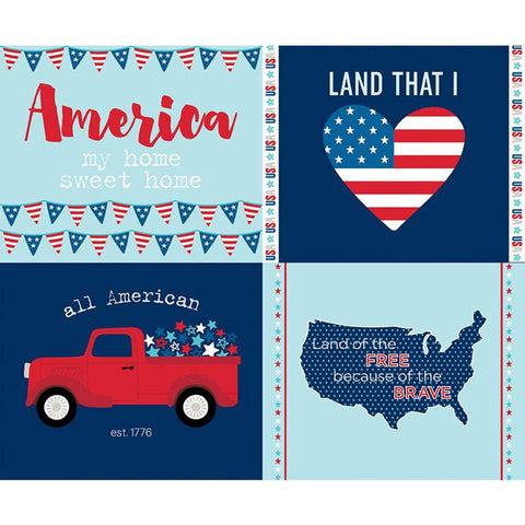 SALE Fireworks and Freedom Placemat Panel Aqua - Riley Blake Designs - Blue Patriotic Independence Day  - Quilting Cotton Fabric