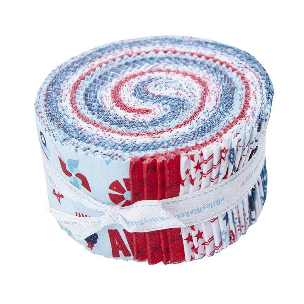 Fireworks and Freedom 2.5-Inch Rolie Polie Jelly Roll 40 pieces Riley Blake Designs - Precut Bundle - Patriotic -Quilting Cotton Fabric