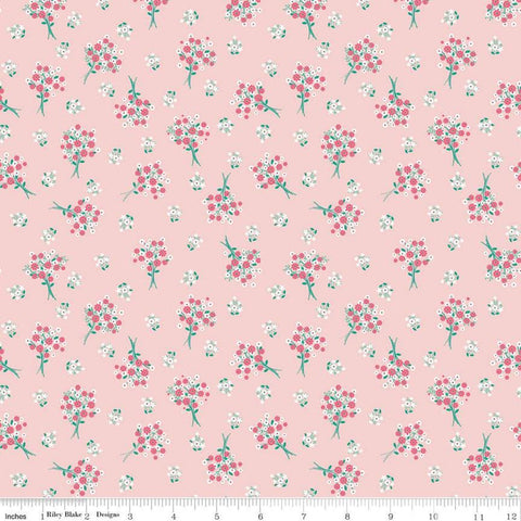 SALE Singing in the Rain Bouquets Baby Pink - Riley Blake Designs - Flowers Floral - Quilting Cotton Fabric
