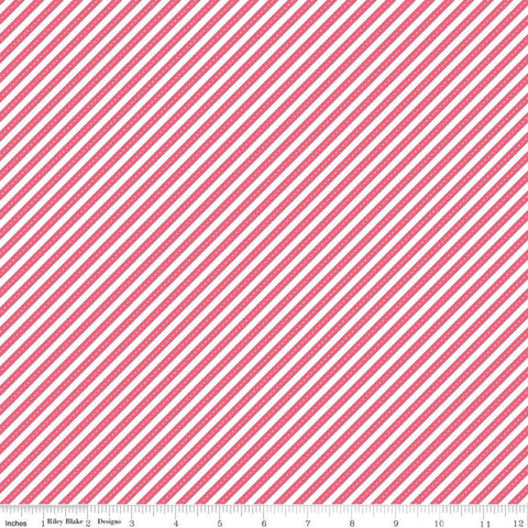 SALE Singing in the Rain Ribbons Raspberry - Riley Blake Designs - Pink White Diagonal Stripes Striped Stripe - Quilting Cotton Fabric
