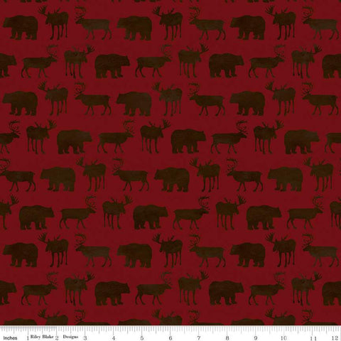 Send Me to the Woods Silhouette Red - Riley Blake Designs - Outdoors Wildlife Animals Bear Deer Moose   - Quilting Cotton Fabric