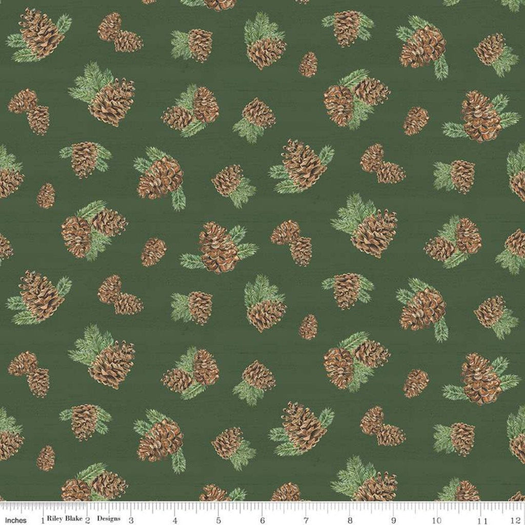 Send Me to the Woods Pinecones Green - Riley Blake Designs - Outdoors Trees Pines Cones Pine   - Quilting Cotton Fabric