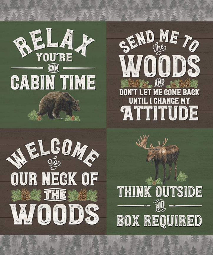 Send Me to the Woods Panel Green by Riley Blake Designs - Wildlife Outdoors Sayings Animals Recreation - Quilting Cotton Fabric