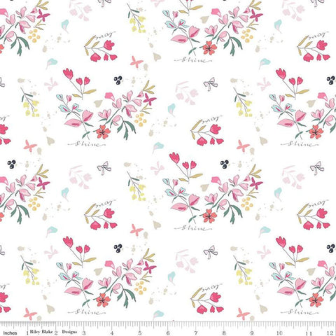 Moments Main Cream - Riley Blake Designs -  Flowers Floral Love Shine - Quilting Cotton Fabric