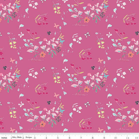 "Moments Main Fuschia - Riley Blake Designs - Floral Flowers Pink Love Shine - Quilting Cotton Fabric -  1 yd 34"" end of bolt piece"