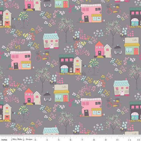 Moments Houses Gray - Riley Blake Designs -  Buildings Shops Bicycles Flowers Floral - Quilting Cotton Fabric
