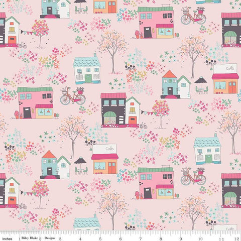 Moments Houses Pink - Riley Blake Designs - Buildings Shops Bicycles Floral Flowers - Quilting Cotton Fabric