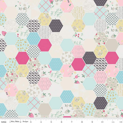 Moments Hexagon Cream - Riley Blake Designs -  Geometric Hexagons Hexies - Quilting Cotton Fabric