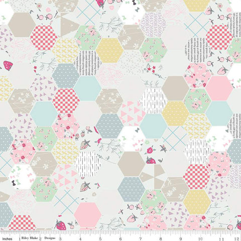 Moments Hexagon White - Riley Blake Designs -  Geometric Hexagons Hexies - Quilting Cotton Fabric