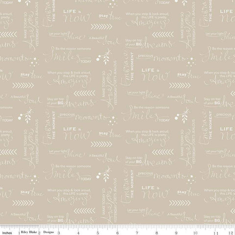 SALE Moments Quotes Tan - Riley Blake Designs - Text Words Positive Sayings - Quilting Cotton Fabric