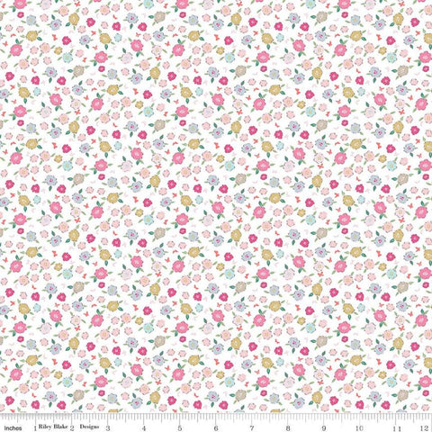 Moments Blossom Cream - Riley Blake Designs -  Floral Flowers - Quilting Cotton Fabric