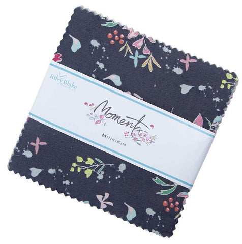 "Moments Charm Pack 5"" Stacker Bundle - Riley Blake Designs - 42 piece Precut Pre cut - Quilting Cotton Fabric"