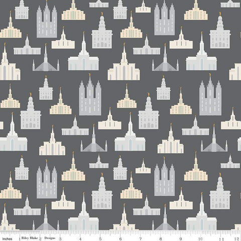 SALE Called to Serve Temple Charcoal SPARKLE - Riley Blake Designs - Missionary Mission Temples Gray Gold METALLIC - Quilting Cotton Fabric