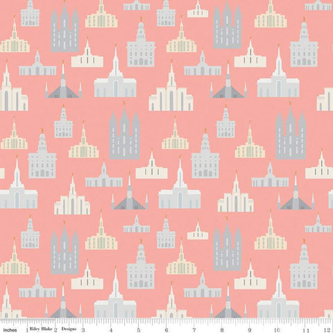 SALE Called to Serve Temple Coral SPARKLE - Riley Blake Designs - Missionary Mission Temples Gold METALLIC - Quilting Cotton Fabric