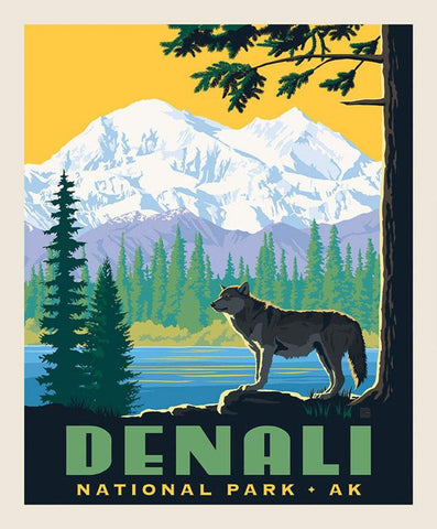 SALE National Parks Poster Panel Denali by Riley Blake Designs - Outdoors Recreation Alaska Mountain Wolf - Quilting Cotton Fabric