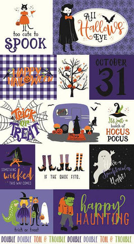 Hocus Pocus Panel Purple by Riley Blake Designs - Halloween Saying Images - Quilting Cotton Fabric