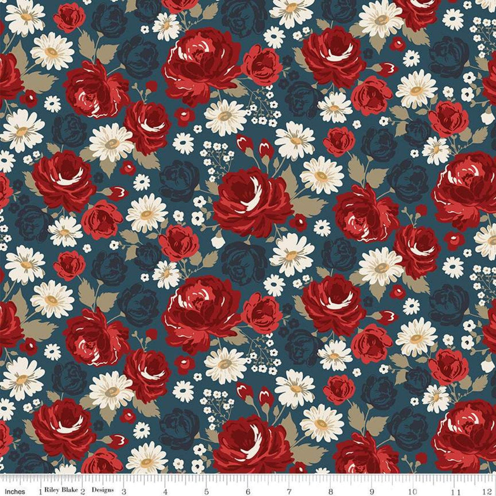 American Legacy Main Blue - Riley Blake Designs - Floral Flowers Patriotic Independence Day - Quilting Cotton Fabric