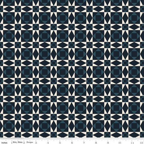 American Legacy Geometric Blue - Riley Blake Designs - Blue Cream Star Patriotic Independence Day - Quilting Cotton Fabric - choose your cut