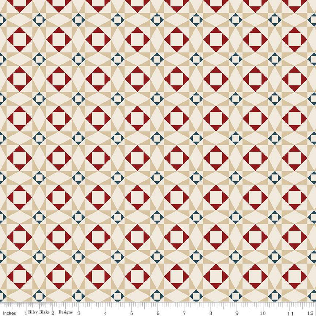 SALE American Legacy Geometric Cream - Riley Blake Designs - Quilt Stars Patriotic Independence Day - Quilting Cotton Fabric - choose cut