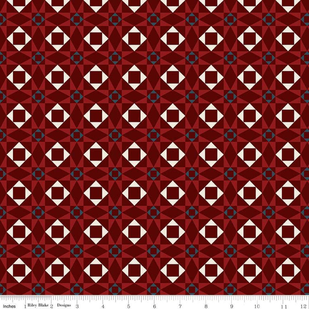American Legacy Geometric Red - Riley Blake Designs - Quilt Stars Red Cream Patriotic Independence Day - Quilting Cotton Fabric