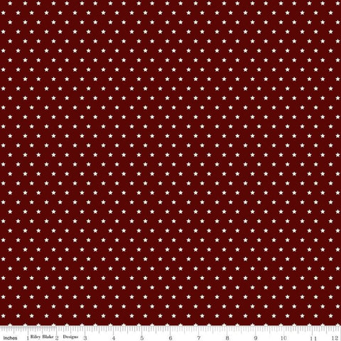 American Legacy Stars Burgundy - Riley Blake Designs - Cream Stars Patriotic Independence Day - Quilting Cotton Fabric - choose cut