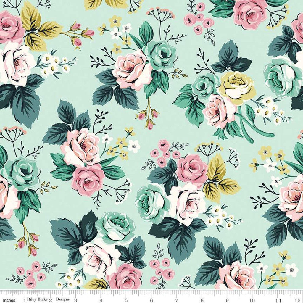 Splendor Main Mint - Riley Blake Designs - Floral Flowers Green -  Quilting Cotton Fabric