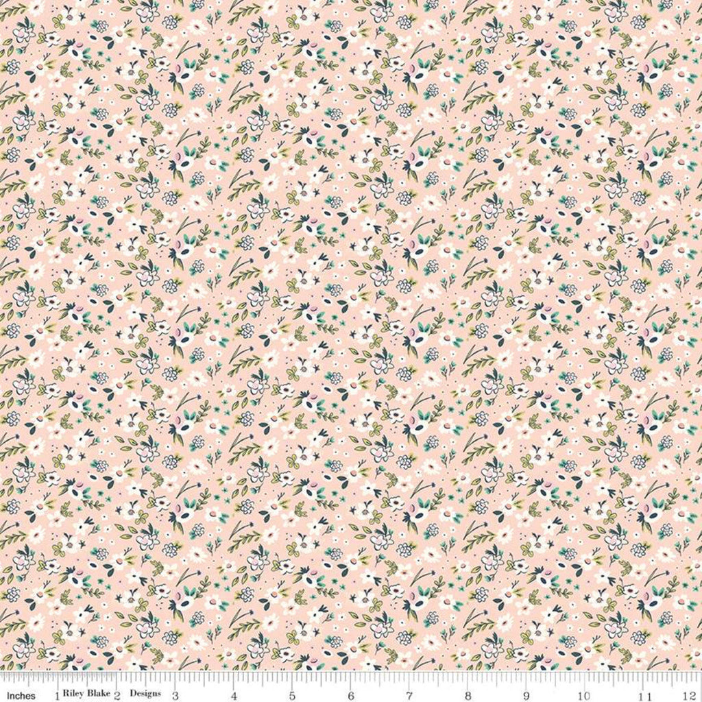 Splendor Ditsy Peach - Riley Blake Designs - Floral Flowers Orange Cream -  Quilting Cotton Fabric