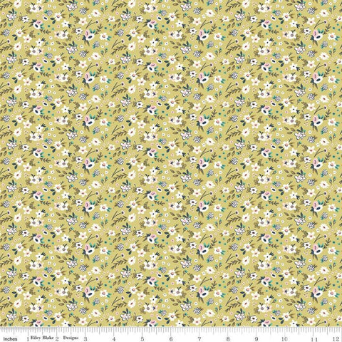 SALE Splendor Ditsy Sage - Riley Blake Designs - Floral Flowers Green Cream -  Quilting Cotton Fabric