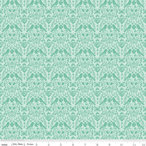 SALE Splendor Folkart Mint - Riley Blake Designs - Floral Flowers Birds Leaves Butterflies Green -  Quilting Cotton Fabric
