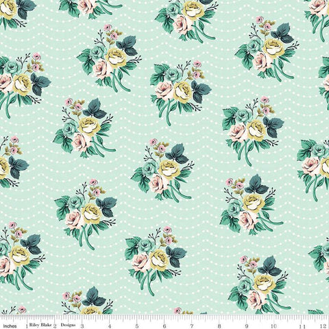 Splendor Bouquet Mint - Riley Blake Designs - Floral Flowers Green Cream Dots Polka Dots -  Quilting Cotton Fabric