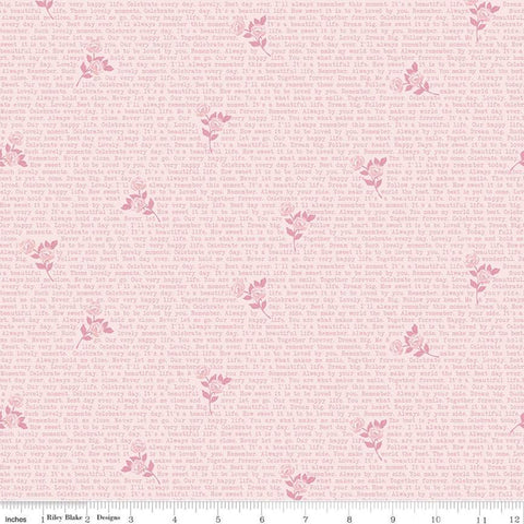SALE Splendor Text Pink - Riley Blake Designs - Floral Flowers Inspirational Words Quotes Sayings  -  Quilting Cotton Fabric