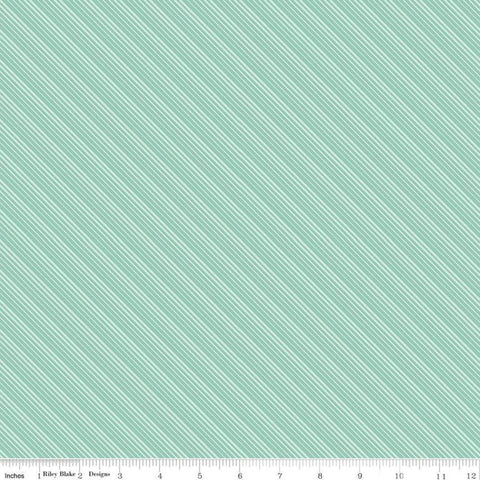 SALE Splendor Stripe Mint - Riley Blake Designs - Green Diagonal Stripes Striped  -  Quilting Cotton Fabric