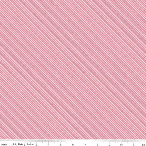 SALE Splendor Stripe Pink - Riley Blake Designs - Diagonal Stripes Striped  -  Quilting Cotton Fabric