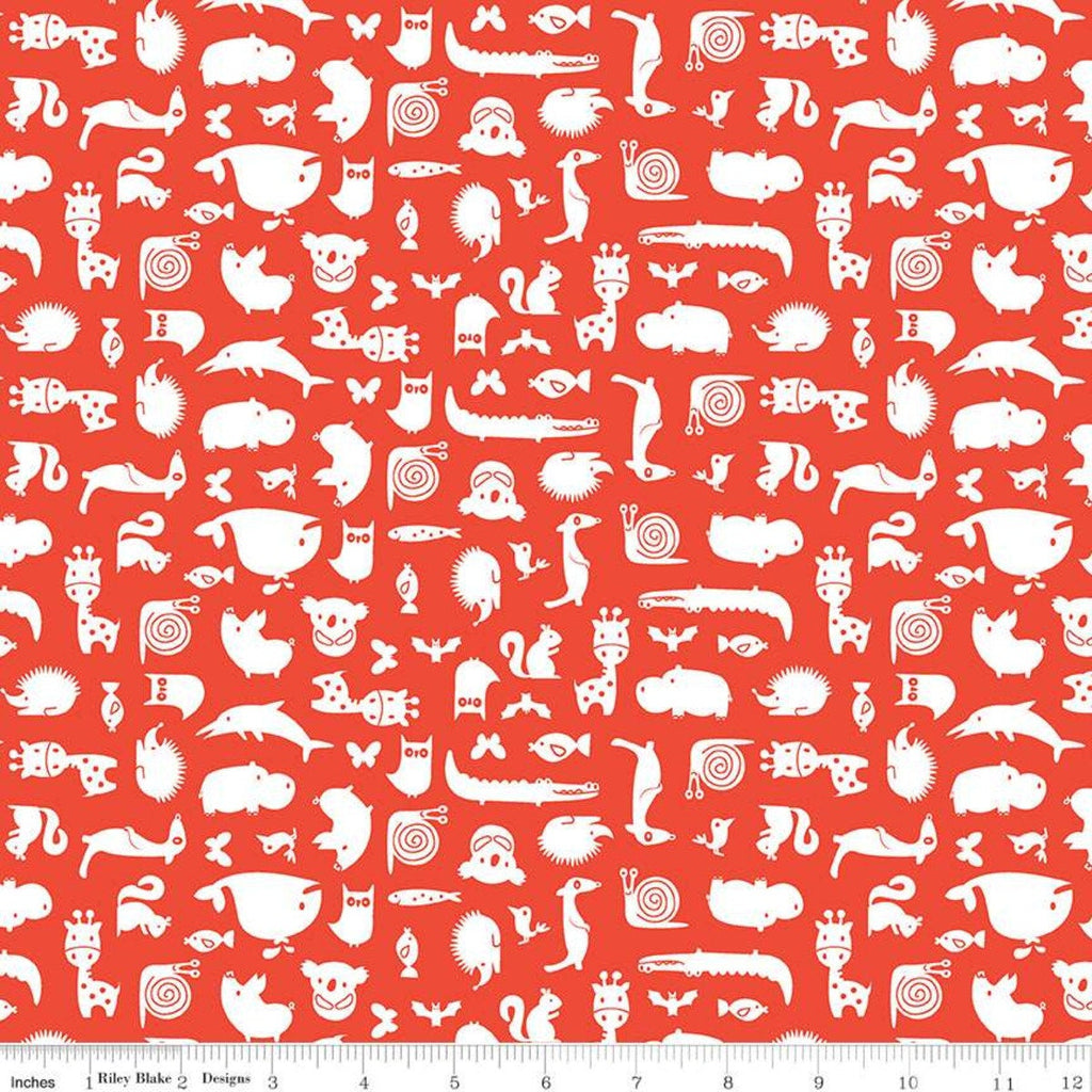 SALE Noah's Ark Animal Toss Red - Riley Blake Designs - Juvenile White Animals on Red - Quilting Cotton Fabric