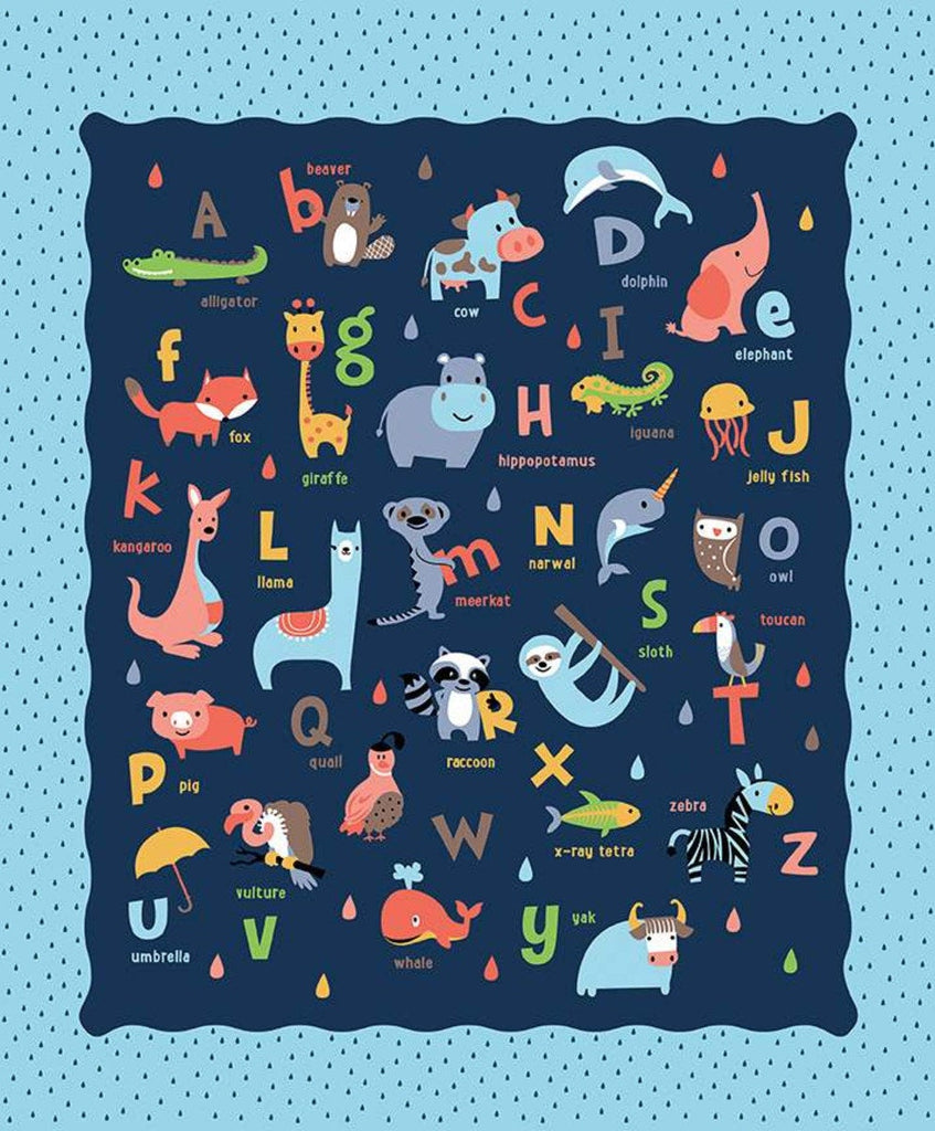 Noah's Ark Panel Blue by Riley Blake Designs - Juvenile Alphabet ABCs Animals Animal Names Raindrops - Quilting Cotton Fabric
