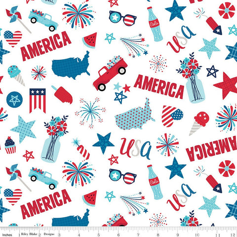 Fireworks and Freedom Main White - Riley Blake Designs - Patriotic America Independence Day - Quilting Cotton Fabric - choose your cut