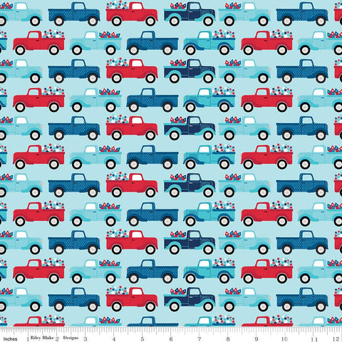 Fireworks and Freedom Trucks Aqua - Riley Blake Designs - Patriotic America Independence Day Blue - Quilting Cotton Fabric - choose your cut
