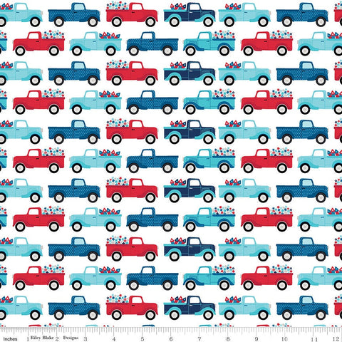 Fireworks and Freedom Trucks White - Riley Blake Designs - Patriotic America Independence Day - Quilting Cotton Fabric - choose your cut