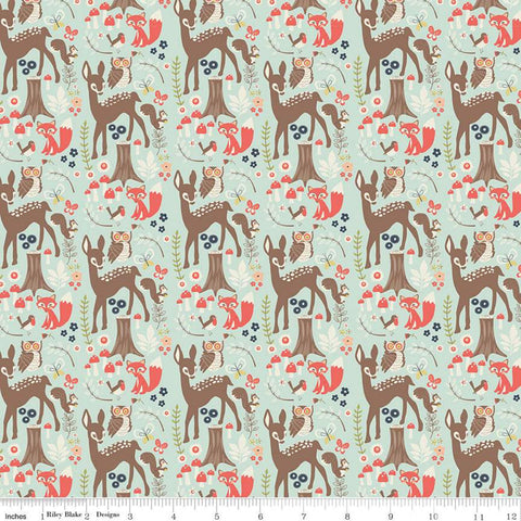 Woodland Spring Main Aqua - Riley Blake Designs - Blue Outdoors Wildlife Deer Foxes Owls Birds  -  Quilting Cotton Fabric