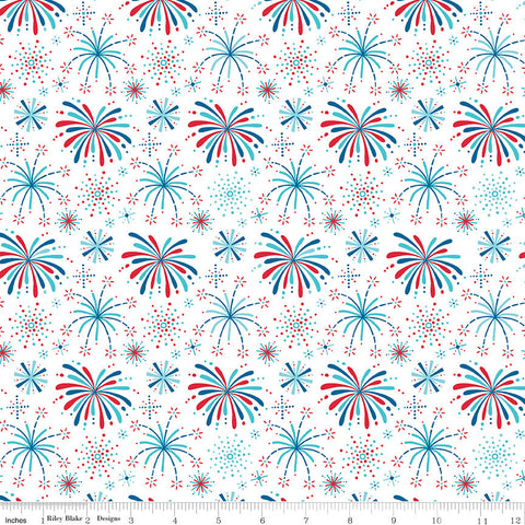 Fireworks and Freedom Show White - Riley Blake Designs - Patriotic America Independence Day - Quilting Cotton Fabric - choose your cut