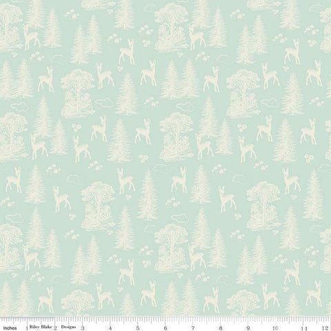 Woodland Spring My Deer Aqua - Riley Blake Designs - Blue Cream Outdoors Forest Trees  -  Quilting Cotton Fabric