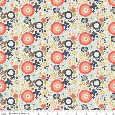 Woodland Spring Floral Cream - Riley Blake Designs - Flowers Leaves -  Quilting Cotton Fabric