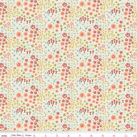 Woodland Spring Wild Flowers Cream - Riley Blake Designs - Flowers Mushrooms -  Quilting Cotton Fabric